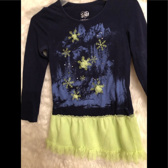 Justice Other - Justice icicles Dark blue and lime dress